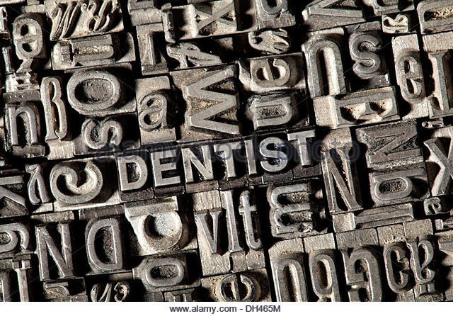 old-lead-letters-forming-the-word-dentist-dh465m