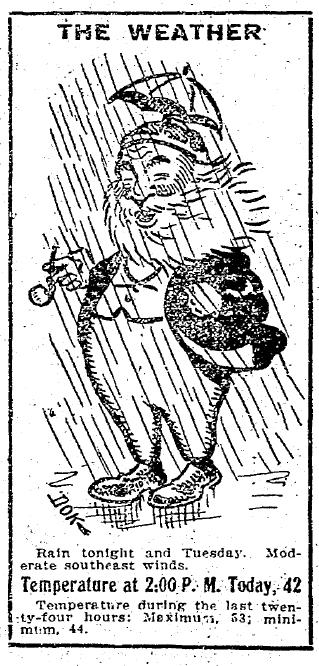 اولین کارتون مرد چتر به دست در سیاتل تایمز.