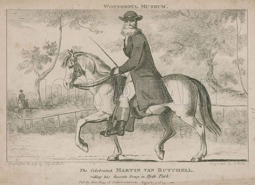The celebrated Martin Van Butchell riding his favourite pony in Hyde Park